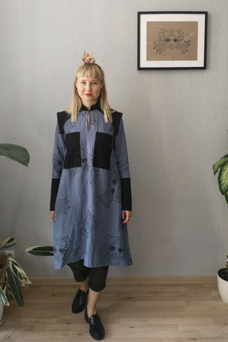 Rosa Perks - Space Warrior Princess Heroine Shirt Dress in Pigeon Blue Linen and Black Handprinted Lāčplēsene print with black details