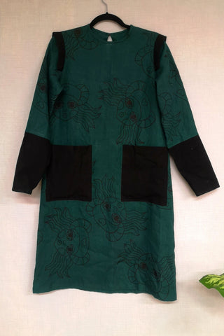 Forest Green One of a Kind Linen Heroine Dress with Black Hand Printed Lscplesene/Heroine Pattern and Black Linen Details
