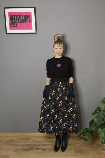 Colorful Black and Bright Dotted Print One Size Fits All Wide Colorful Cotton Skirt with Pockets - A Minimalist Dream
