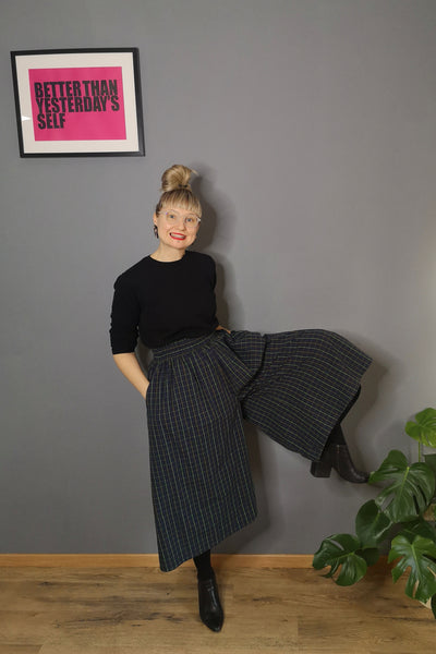 Dark Green and Yellow Checked Cotton All Season Culottes. Perfect for Active Beauty Loving Woman