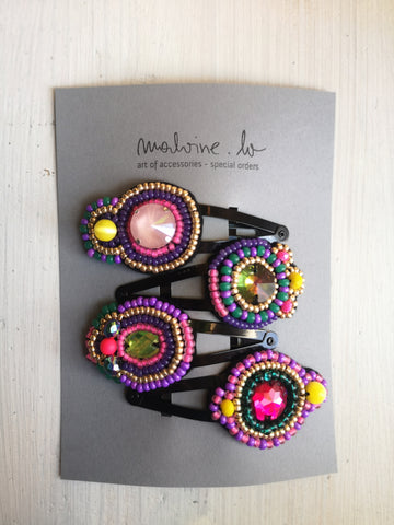 Set of Four Oversized Fun, Colorful and Sparkly One of A Kind Hair Pins
