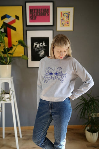 Light Grey Melange Cotton Cropped Sweatter with pockets and Hand Printed Cobalt Blue Lāčplēsene/ Heroine