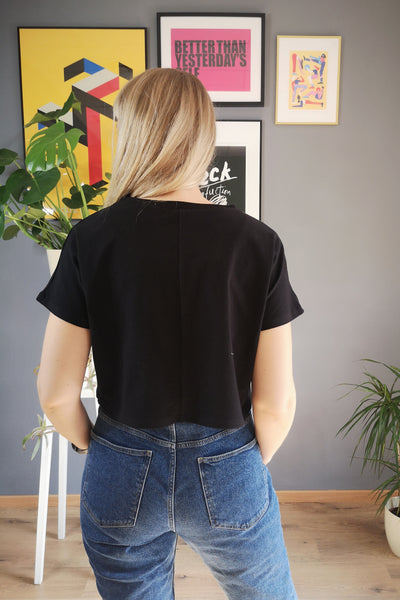 Zero Waste Heroine Lāčplēsene Handmade Black Cotton Crop Top with Handmade Silkscreen Golden Print