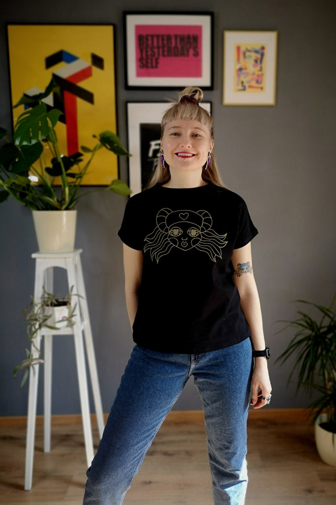 Zero Waste Heroine Lāčplēsene Handmade Black Cotton Tshirt with Handmade Silkscreen Golden Print