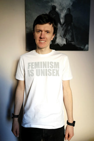 Feminism is Unisex - White Organic Unisex Tshirt with Light Grey Print