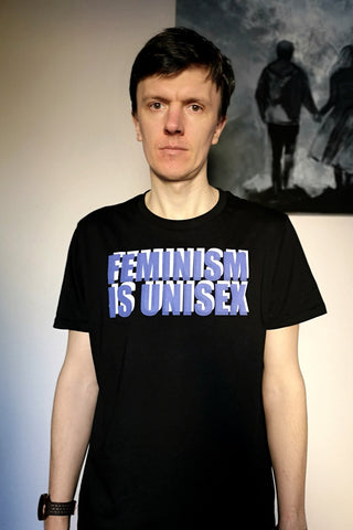 Feminism is Unisex - Black Organic Oversized Unisex Tshirt with White and Purple Print