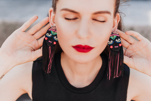 "Statement earrings with fringe ""I Create My Own Reality"""