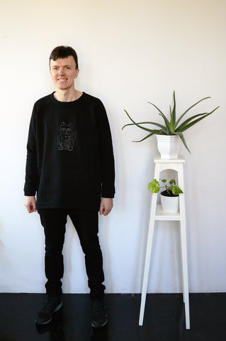 Long and Super Warm Black Unisex Statement Sweater with Lucky Cat - Maneki-Neko Print