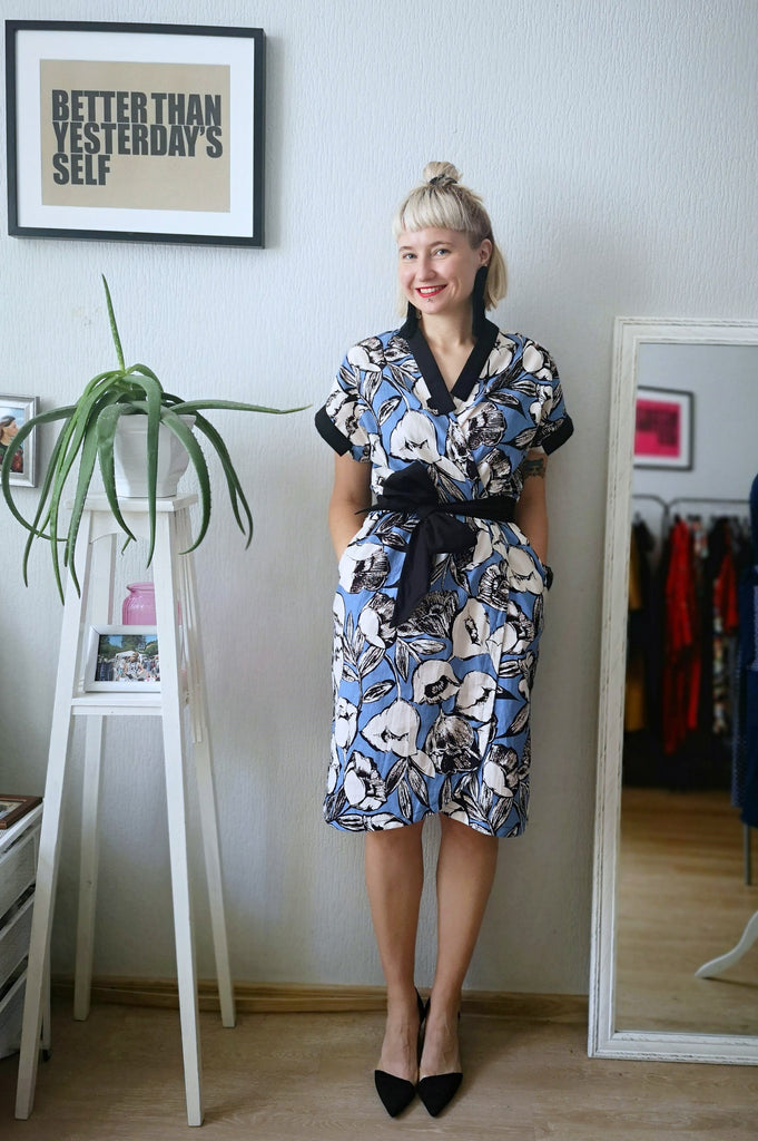 Light Blue, Black an Cream white Flower Print Linen Fabric Kimono Safari Dress and Jacket Two in One Transformer Piece