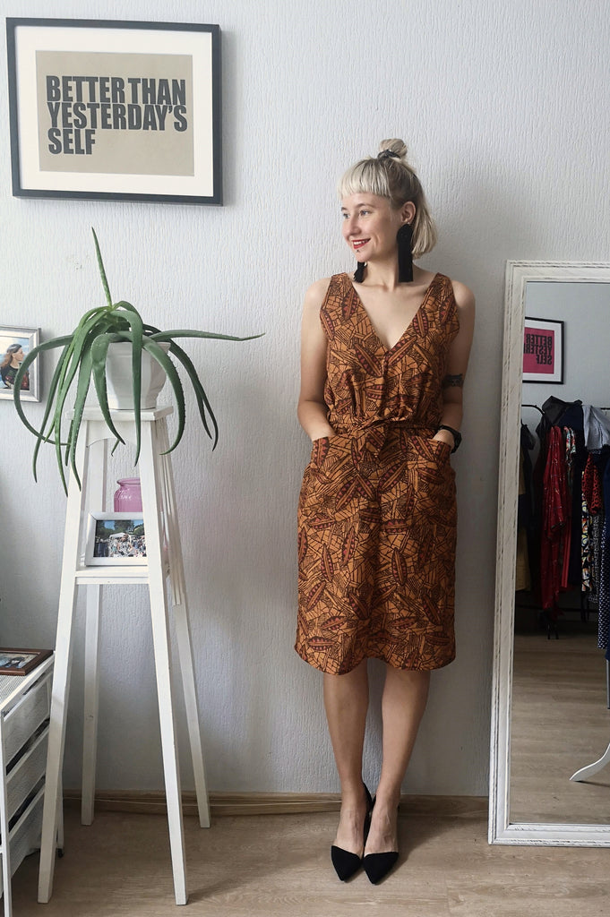 Orange and Brown Patterned Elegant Light Cotton V Neck and V Back Straight dress with Belt
