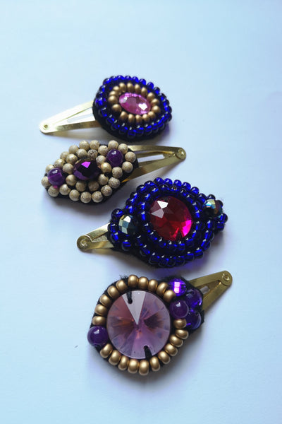 Set of Four Fun and Sparkly One of A Kind Hair Pins