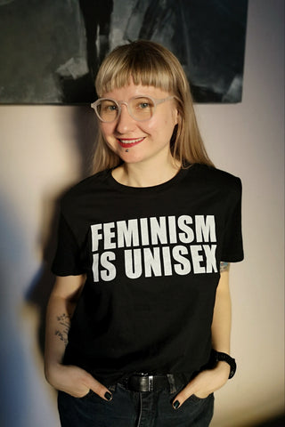 Feminism is Unisex - Black Organic Oversized Unisex Tshirt with White Print