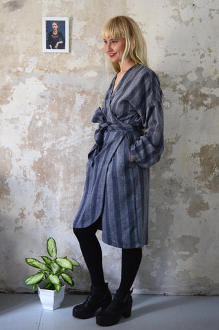 NEW Autumn Grey Woven Etno Style Long Sleeved warm Transformer Kimono - from dress to a kimono jacket