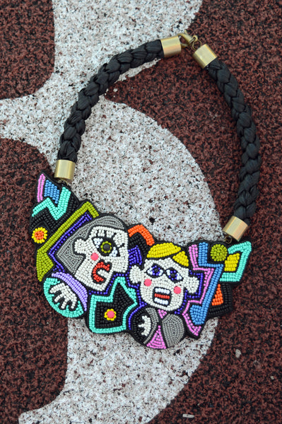 "Oversized concept necklace inspired by cubism ""I Have a Conversation"""