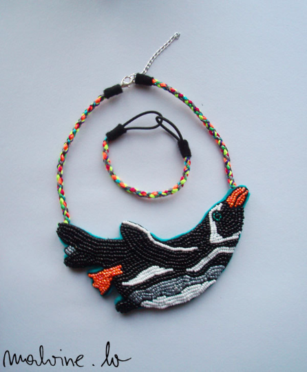 "Necklace and bracelet set ""Flying Penguin"""