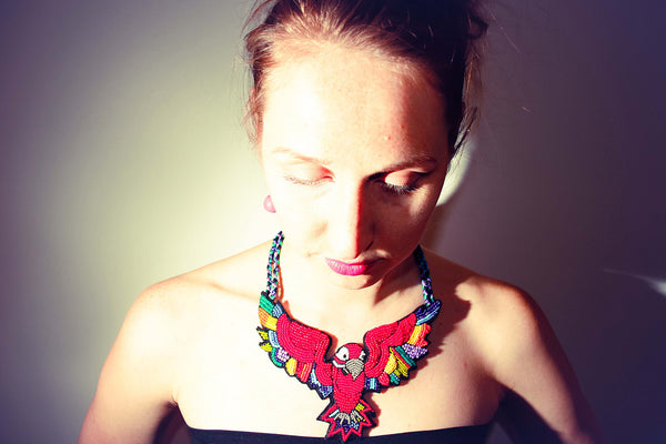 The Dream of a Red Macaw parrot necklace