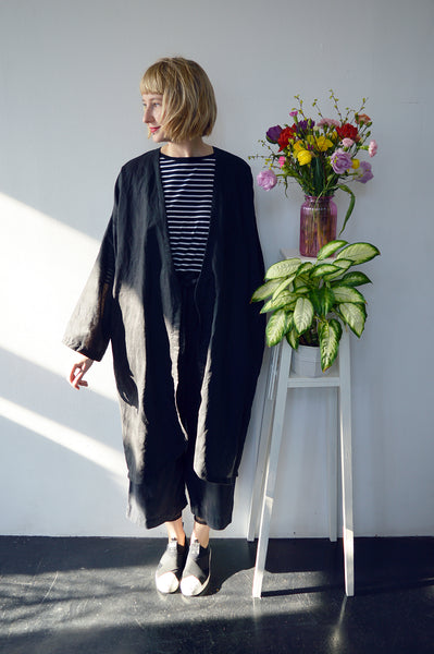 Fresh and New Spring Summer 2018 Black Linen Transformer Kimono - from dress to a summer coat