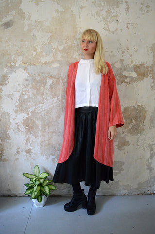 Autumn/Winter Bright Red Woven Etno Style Long Sleeved warm Transformer Kimono - from dress to a kimono jacket