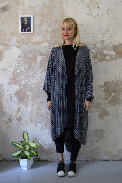 Grey Patterned Transformer Kimono - from dress to a kimono jacket