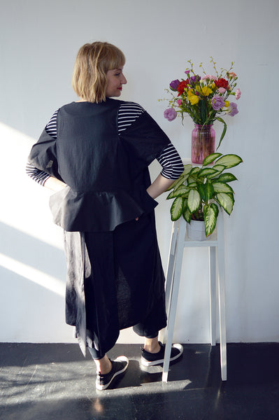 Minimalist dream - Transformer piece for all seasons - Cold Shoulder Black Linen kimono/ dress/ jacket
