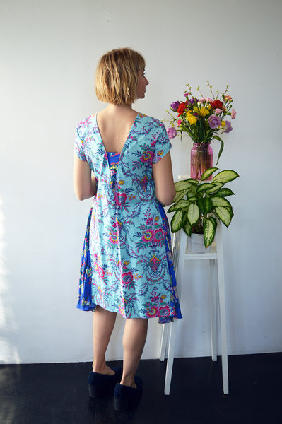 Fresh and New Spring Summer 2018 Fun and Unique Dress in Super Colorful Patterned Print Cotton with Patterned Side Wedge