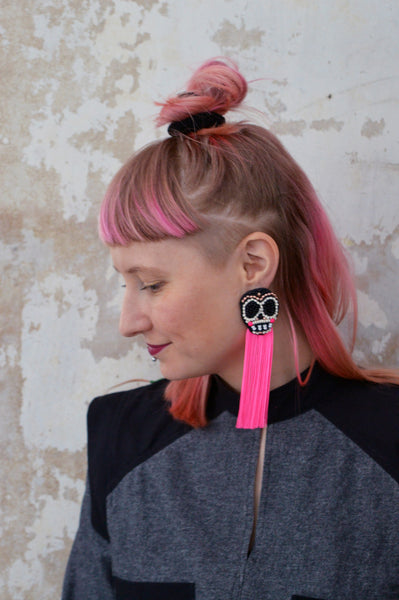 Sugar scull earrings with fringe