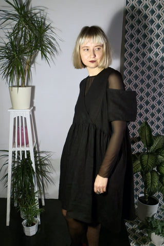 Oversized Black Linen Dress for every occasion of your life. Black Mini Dress for Every Season.