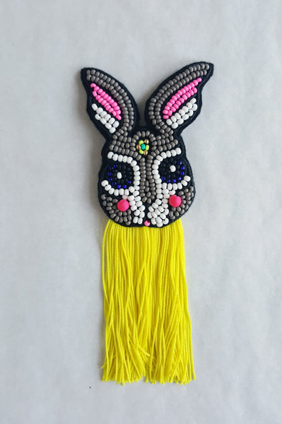 "Super Fun Rabbit Brooch with Fringre ""The Fun Brother"""