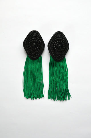 Black rhombus earrings with green fringe
