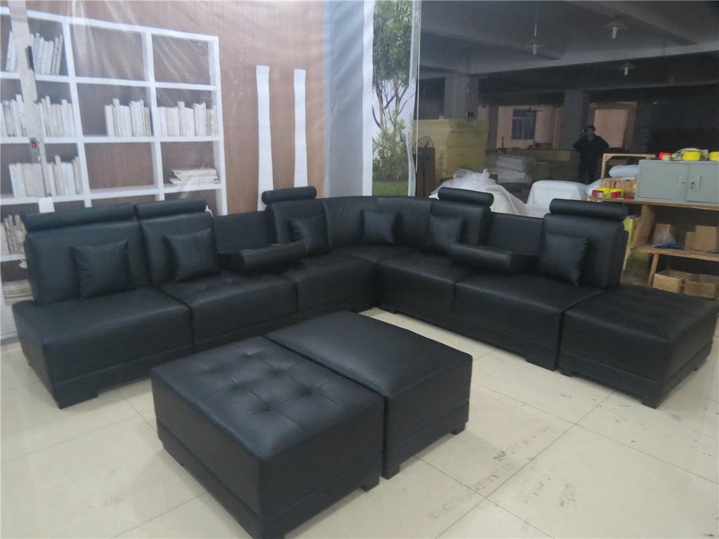 Agora Leather Sectional Sofa with3 Ottoman - Black Color