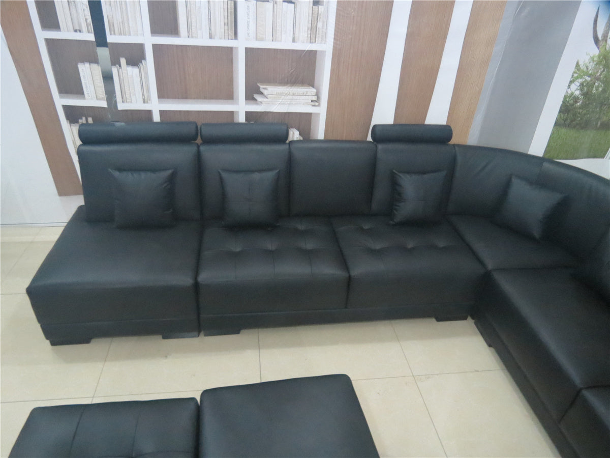 Agora Leather Sectional Sofa with3 Ottoman - Black Color : black leather sectional with ottoman - Sectionals, Sofas & Couches