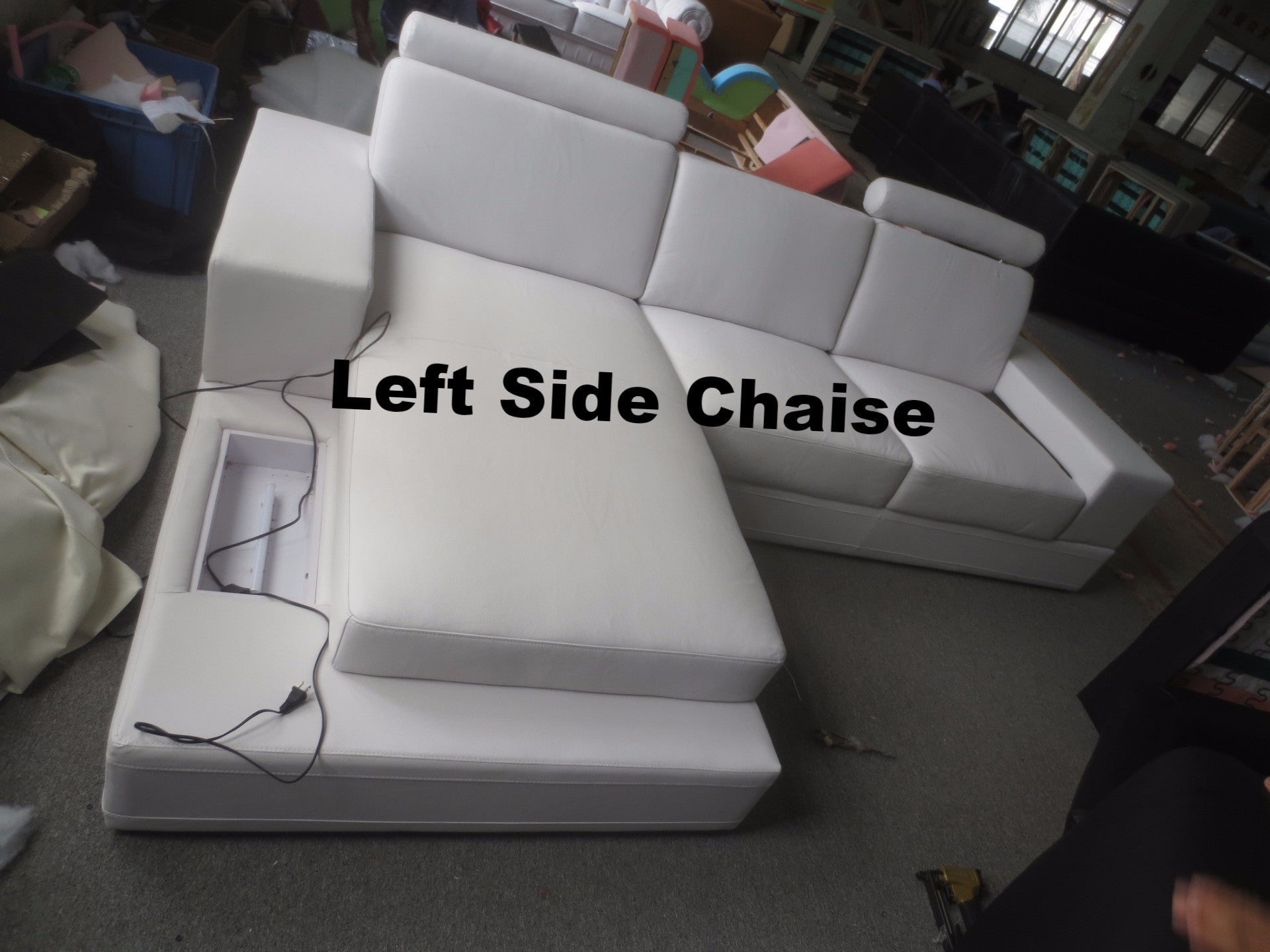 Austin Modern Leather Sectional Sofa White Left Chaise
