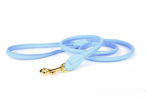 Charlie Nappa Leather Leash - Aqua