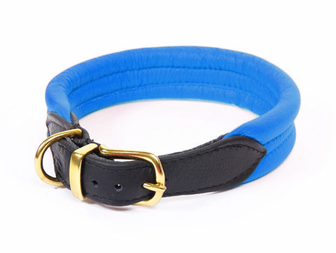 Frankie Padded Nappa Leather Collar - Electric Blue