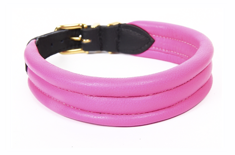 Frankie Padded Nappa Leather Collar - Pink