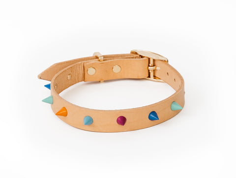 Spike Leather Dog Collar - Palm Springs