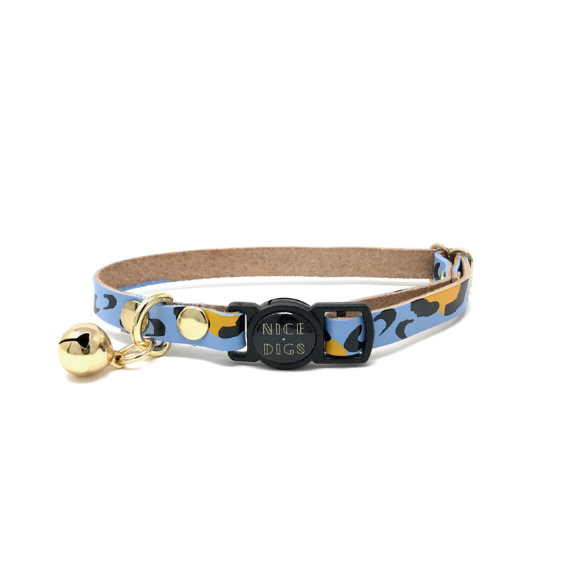 Animal Leather Cat Collar - Sky