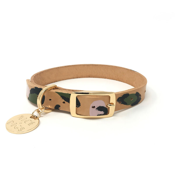 Animal Leather Dog Collar - Evergreen