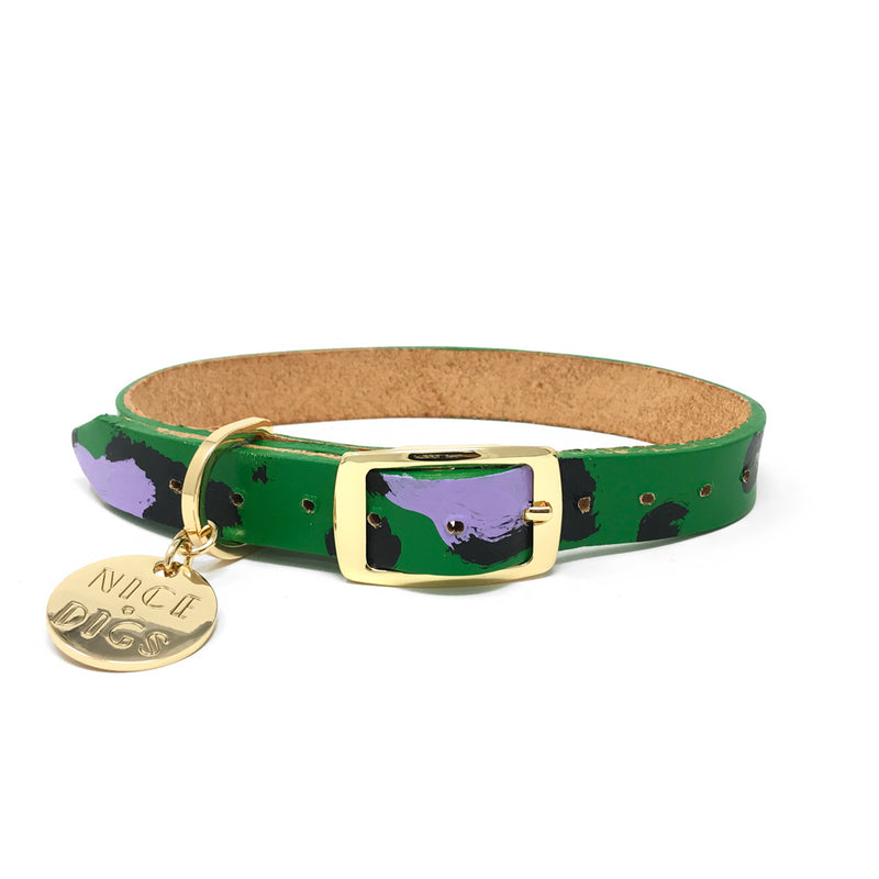 Animal Leather Dog Collar - Green