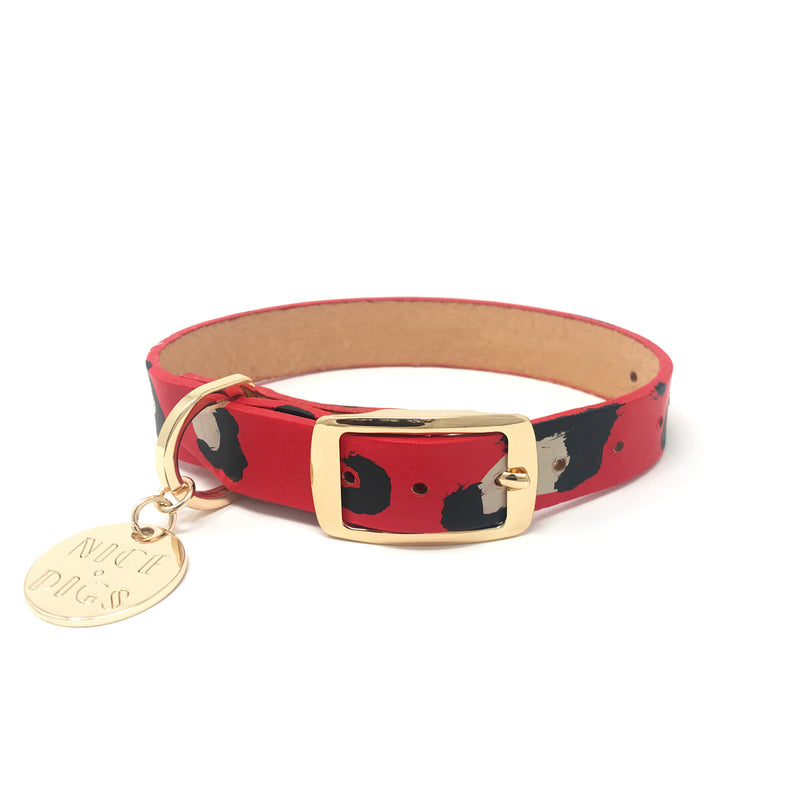 Animal Leather Dog Collar - Red