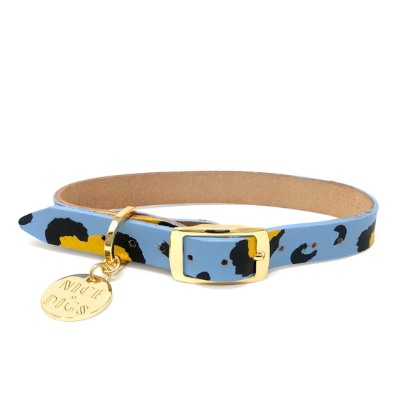 Animal Leather Dog Collar - Sky