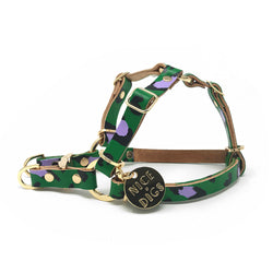 Animal Leather Non-Pull Dog Harness - Green