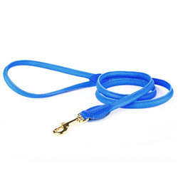 Charlie Nappa Leather Leash - Electric Blue