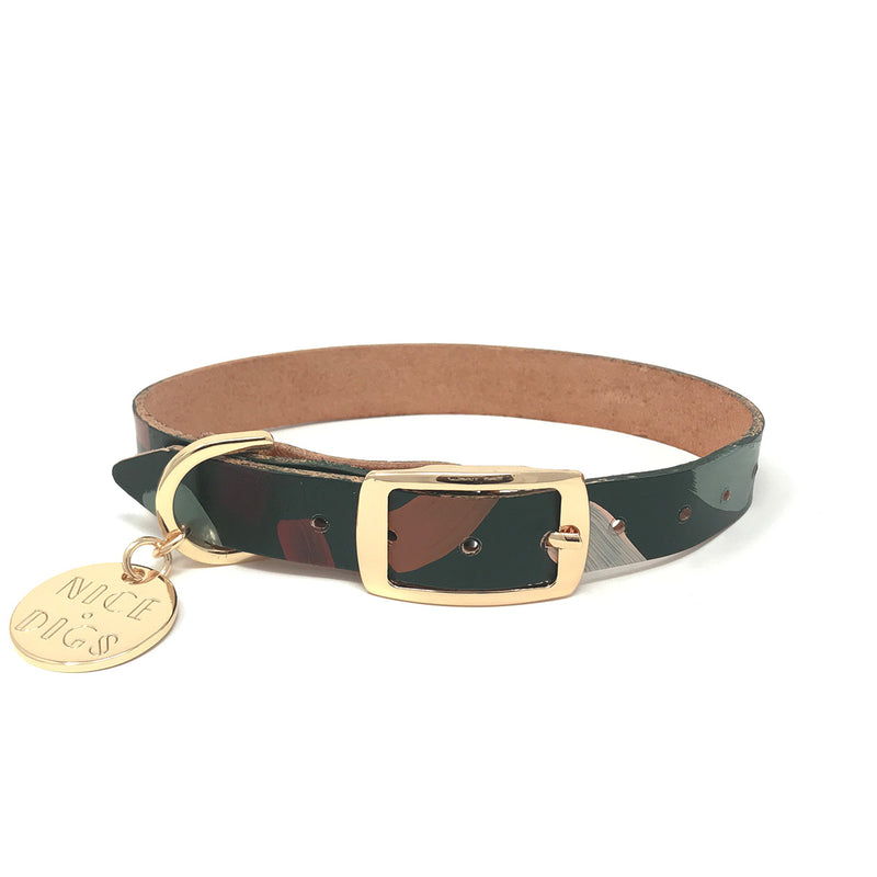 Chiaro Leather Dog Collar - Forest
