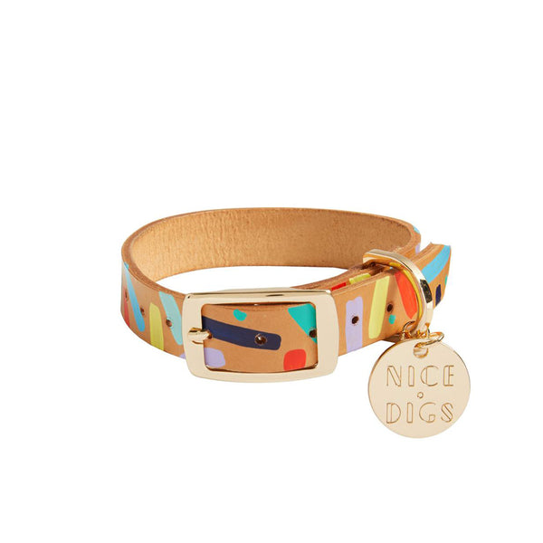 Confetti Leather Dog Collar