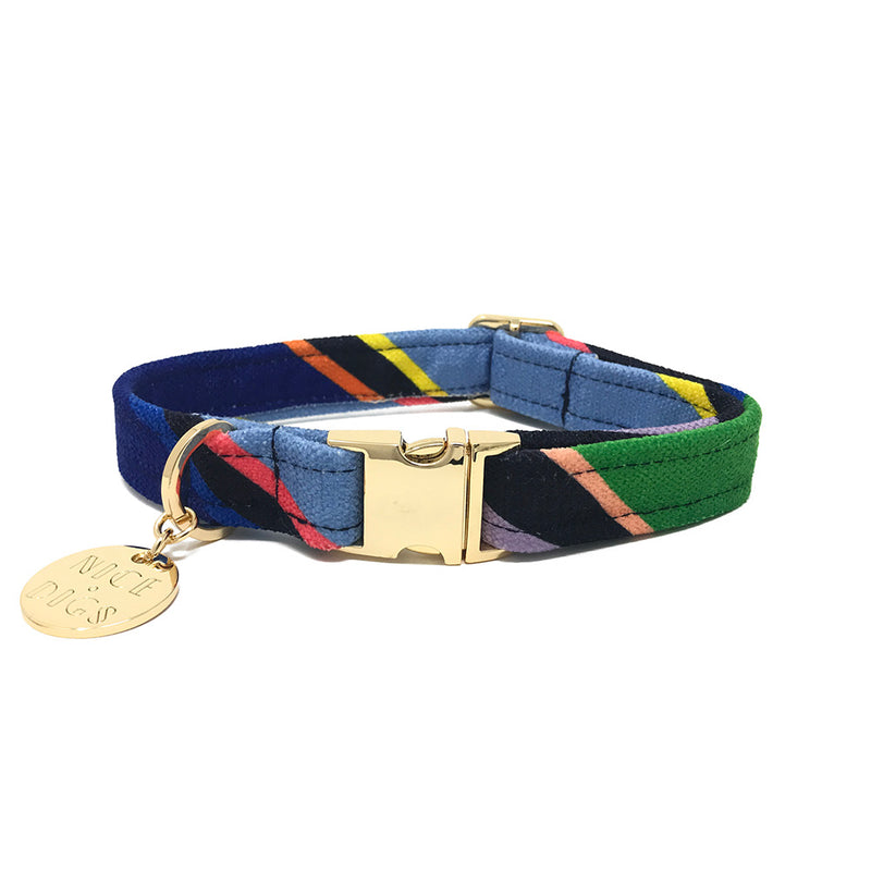 Easy Tiger Printed Dog Collar - Blue