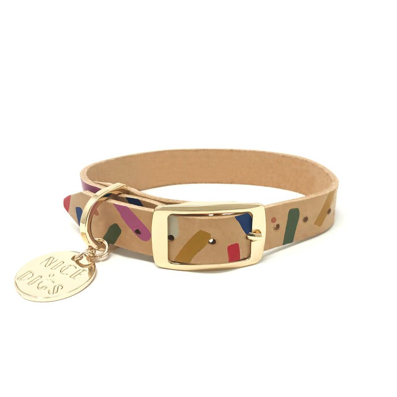 Jungle Confetti Leather Dog Collar