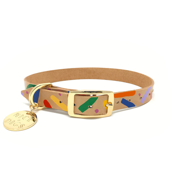Memphis Confetti Leather Dog Collar