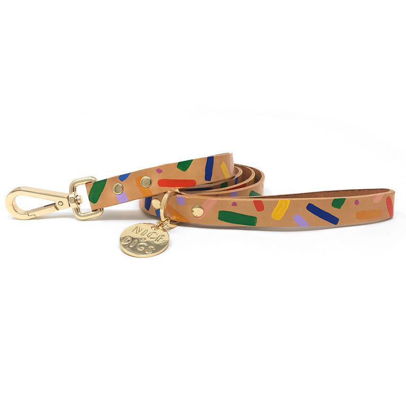 Memphis Confetti Leather Leash