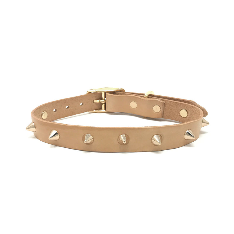 Smooth Spike Leather Collar - Gold Tan